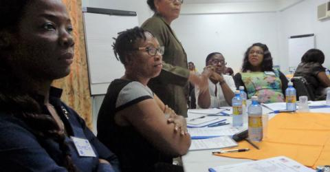 Guyana officials study identification, referral and protection of trafficking victims. Photo: IOM 2016