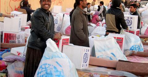 IOM distributes non-food relief items including heaters to displaced families in Bibokhet. Photo: IOM Iraq 2016
