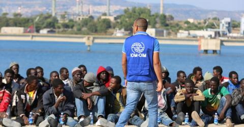 Migrants at the Italian port of Augusta in Sicily after their rescue. © Francesco Malavolta/IOM 2015