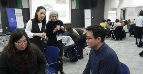 Korean aid workers study psychological first aid. Photo: IOM.