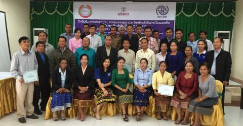 Camp coordination/camp management (CCCM) training participants in Savannakhet Province, Lao People's Democratic Republic. Photo: IOM 2016
