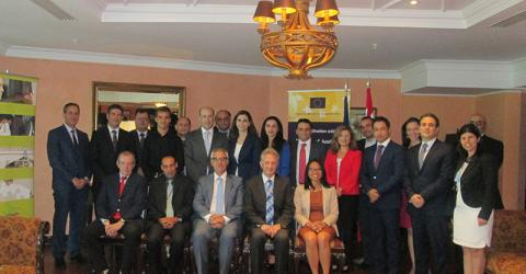 Judges and prosecutors from Beirut and Mount Lebanon take part in a roundtable discussion organized by the Lebanese Supreme Court and IOM Lebanon to reflect on Lebanon's current assistance to and protection of victims of human trafficking. © IOM 2015
