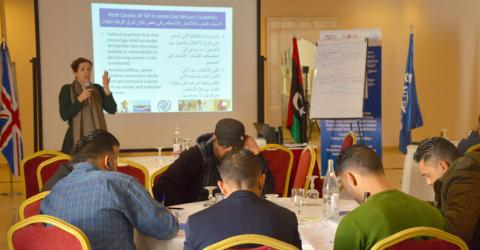 Libyan detention centre staff learn about human rights. Photo: IOM