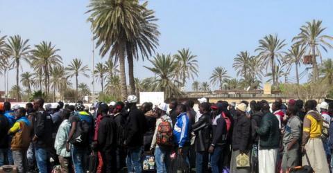 Migrantes de África Subsahariana a punto de dejar Libia con la asistencia de la OIM. Foto: Archivo de OIM