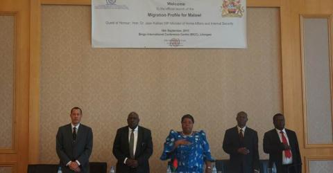 From left: Stephane Trocher, IOM Chief of Mission, Malawi; Josiah Ogina, IOM Regional Director for Southern Africa; Dr. Jean Kalilani MP, Minister of Home Affairs and Internal Security; Beston Chisamale, Principal Secretary in the Ministry of Home Affairs and Internal Security and Masauko Medi, Chief Immigration Officer