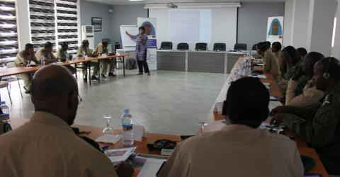 Mauritanian law enforcement officers study counter trafficking. Photo: IOM