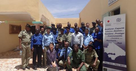 Mauritanian and Malian police officers train in Aioun El Atrouss, southern Mauritania. Photo: IOM 2016