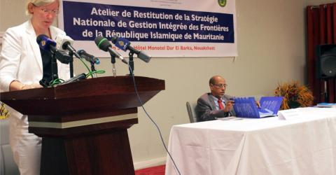 IOM Mauritania's Chief of Mission, Anke Strauss opens the ceremony for the presentation of the National Strategy of Integrated Border Management in the Islamic Republic of Mauritania, which took place the 24th June 2015 in Nouakchott. © IOM 2015