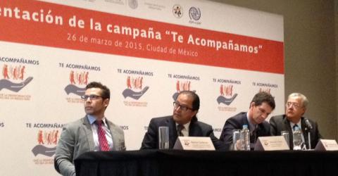IOM, through the UN Joint Program for Vulnerable Migrants in Transit, as well as the Department of Migration Policy of the Mexican Interior Ministry (UPM SEGOB, by its Spanish acronym) and the National Council to Prevent Discrimination (CONAPRED, by its Spanish acronym) launches the national information campaign with the slogan Te Acompañamos (We are there for you) to offer protection and empower migrants in transit through Mexico. © IOM 2015