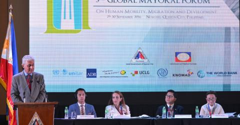 IOM Chief of Staff Ovais Sarmad addresses the 3rd Global Mayoral Forum in Quezon City, Philippines. Photo: IOM
