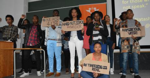 South African students combat human trafficking through social media. Photo: IOM.