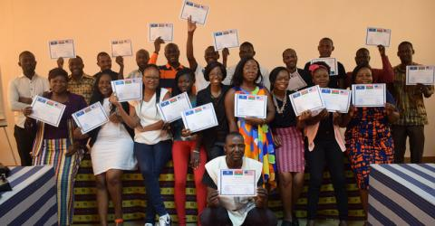IOM trains journalists in West Africa on good media practices and migration. Photo: IOM