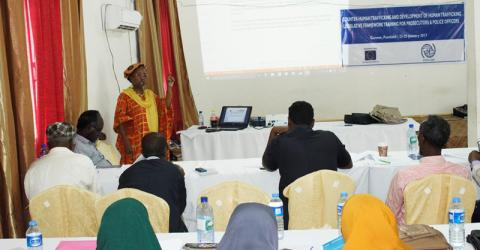 Somali police officers and prosecutors in Puntland enhance their knowledge of human trafficking. Photo: IOM.