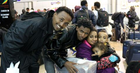Refugees in Khartoum airport before they depart to Germany for resettlement. © IOM 2015