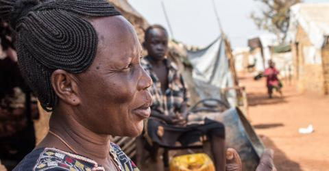 Zeinab recalls the treatment she received for malaria. Photo: IOM / McLaughlin