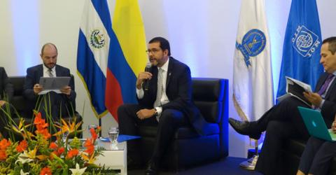 Salvadorean and Colombian officials discuss management of internal displacement. © IOM 2015
