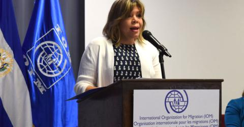 IOM National Programme Officer Diana Ruiz de Arteaga during the launch of the online course on the protection of young migrants in El Salvador. © IOM 2015
