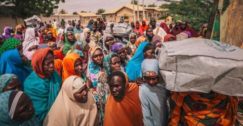 Distribution of non-food items in Maiduguri, Nigeria. Photo: IOM 2015