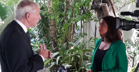Director General William Lacy Swing interviewed by CNN's  Saima Mohsin at today's regional conference on irregular migration in Bangkok. © IOM 2015