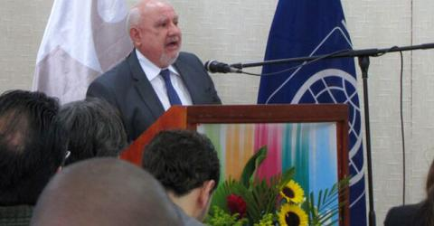IOM's Regional Director for South America Diego Beltrand at the closing session of the Cooperation Program for Strengthening the Institutional Capacity and Modernization of Migration Policies in Venezuela. © IOM 2015