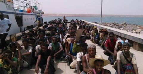 Ethiopian migrants evacuated to Djibouti by IOM to escape the conflict in Yemen. Photo: IOM