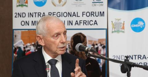 DG Swing addresses the 2nd Intra-Regional Forum on Migration in Africa in Lusaka, Zambia. Photo: IOM 2016