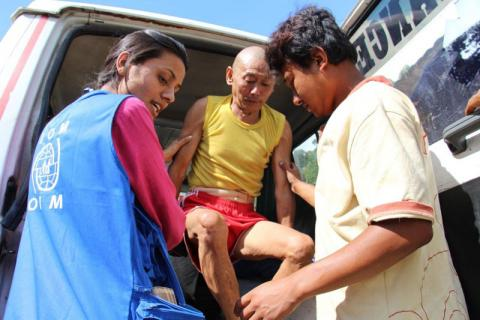 Mani returned home two months after he had a pelvic fracture due to the first earthquake through IOM's Assisted Discharge and Referral Programme. © IOM/Eunjin Jeong 2015