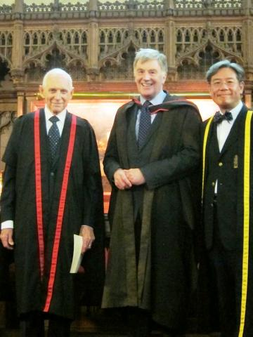 Ambassador Swing is inducted as an Honorary Fellow by the Principal in the chapel of Harris Manchester College.