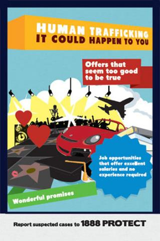 Posters and flyers such as this one will be placed in public places including schools, ministries and other government offices in Jamaica as part of IOM Kingston's public awareness campaign on safe migration. © IOM 2013