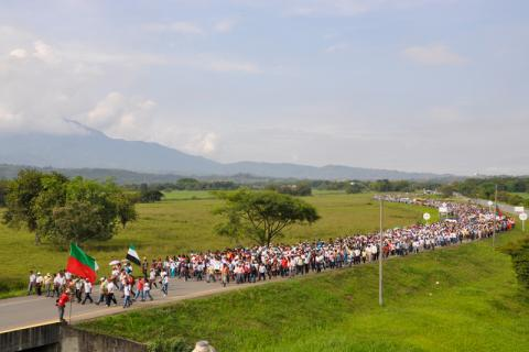 "The ""Million Voices Against the FARC"" march mobilized more than 14 million Colombians, not only in large urban areas but also in rural zones and in more than 30 countries. © Fucude archive."