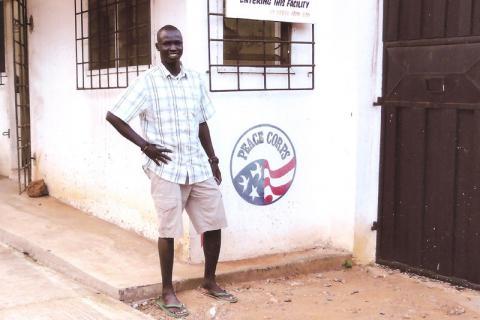 Nhial presentó su solicitud para trabajar como voluntario del Cuerpo de Paz de los Estados Unidos de América, en el sector del agua y el saneamiento. Llegó a Ghana en junio de 2010, como voluntario del Cuerpo de Paz.