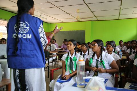 Awareness raising session for school students on safe migration in Jaffna, 2017 Sri Lanka. Safe Migration campaign is a targeted information campaign to raise awareness among the vulnerable migrant sending communities in Sri Lanka.