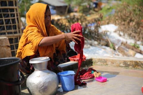 Jameelah washes her young family's clothes at IOM well in Kutupalong Rohingya refugee settlement in Cox's Bazar, Bangladesh.  Full story here: http://features.iom.int/stories/without-water/
