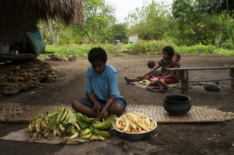 Yanamsa (16 yrs, centre) prepares banana, the staple of Papua New Guinea. Manyang village, Morobe province, Papua New Guinea, 21 June 2015. © Nic Dunlop/IOM 2015