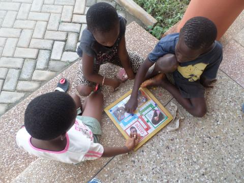 Some of the rescued children playing at the Child Protection Centre outside Accra.  © IOM 2015