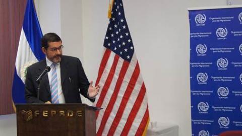 """""""Somos conscientes que, con alianzas como estas, nos fortalecemos mutuamente con el intercambio de experiencias y que nos es posible cubrir a una porción cada vez más grande de población que necesita de nuestra asistencia"""", afirmó el Jefe de Misión de la OIM para El Salvador, Guatemala y Honduras,  Jorge Peraza Breedy."""