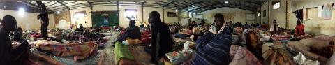 A panoramic shot of the living conditions inside a detention centre in Libya. Photo: UN Migration Agency (IOM)