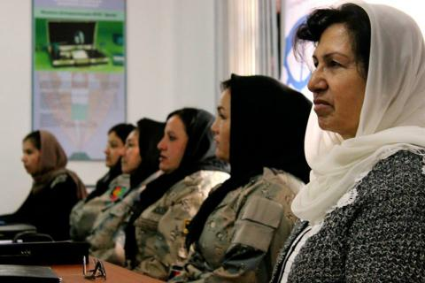 Fifteen female border guards from Afghanistan and Tajikistan undergo training which will provide them with practical skills and knowledge of border control concepts, migration and border legislation, political geography, human trafficking, human rights, and counter-narcotics. © IOM 2014