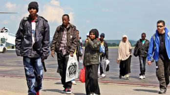 Refugees from Eritrea arrive at Kosice airport in Slovakia. Photo: IOM.