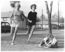 Mary Lepper, left, with fellow runner Lyn Carman running in 1963 /Paul Chinn from the Herald Examiner Collection at LAPL.