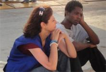 At Misrata port: A last attempt at convincing Abd Al Mageed to join the IOM boat. © IOM 2011 (Photo: M. Refaat)