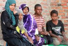 Zanaba rejoined her four children after two months of being separated during the Libyan Crisis. © OIM 2012