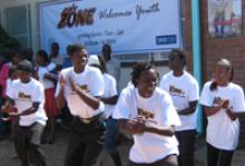 IOM Safe Zone youths participate in one of the activities in the centre. The Safe Zone is a youth centre initiative that seeks to empower young people between the ages of 15 and 24 in an effort to reduce irregular migration. © IOM 2008