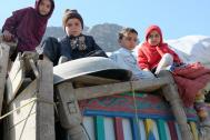 Afghan child returnees at the IOM Transit Center at the Torkham border. Photo: IOM