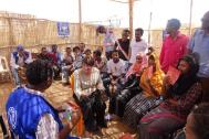 Minister Ploumen meets Eritrean refugees in Hitsase camp. Photo: IOM
