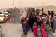 Displaced Iraqis arrive at the camp in Amiriyat Al Fallujah in Anbar, Iraq. Photo: IOM 2016