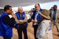 IOM DG Swing visits displacement sites under construction in Ninewa  governorate, east of Mosul. Photo: IOM