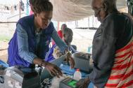 Biometric registration at the UN House Protection of Civilians site 3 in Juba. Photo: Ashley McLaughlin / IOM 2016.