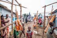 Conditions for the displaced within the Protection of Civilians (PoC) sites can be crowded and harsh, but the sites represent one of the only sources of safety for civilians. Photo: Bannon/IOM 2015