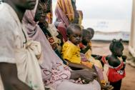 Displaced families wait for health care assistance at the UN-protected site in Wau. Photo: IOM/Mohammed 2016